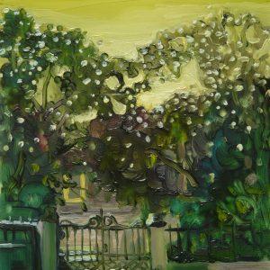 Fence, 20 x 17 cm, oil on perspex on wood, 2020
