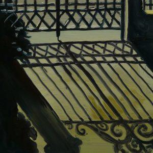 Fence # 2, 17 x 20 cm, oil on perspex on wood, 2020