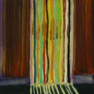 Vliegengordijn, 20 x 17 cm, oil on perspex on wood, 2020