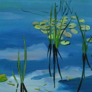 Pond # 1, 17 x 20 cm, oil on perspex on wood, 2020