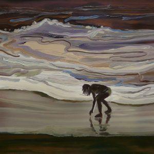 Vloedlijn # 2, 17 x 20 cm, oil on perspex on wood, 2020