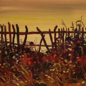 Fence # 3, 17 x 20 cm, oil on perspex on wood, 2020