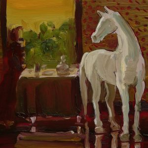 White Horse, 17 x 20 cm, oil on perspex on wood, 2020