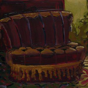 Bankje, 17 x 20 cm, oil on perspex on wood, 2020