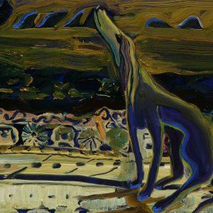 Greyhound, 17 x 20 cm, oil on perspex on wood, 2020