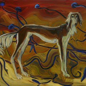 Hound - Saluki, 17 x 20 cm, oil on perspex on wood, 2020