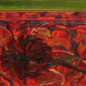 Carpet - Black Flower, 17 x 20 cm, oil on perspex on wood, 2020