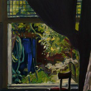 Studioview, 20 x 17 cm, oil on perspex on wood, 2020