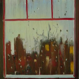 View - Rainy Day # 2, 20 x 17 cm, oil on perspex on wood, 2020