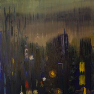 Dark Days, 20 x 17 cm, oil on perspex on wood, 2020