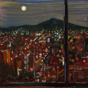 View - City # 2, 20 x 17 cm, oil on perspex on wood, 2020