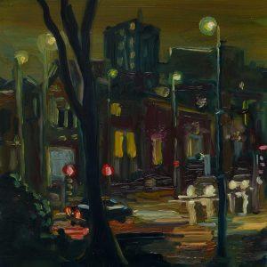 Dark Days # 2, 20 x 17 cm, oil on perspex on wood, 2020