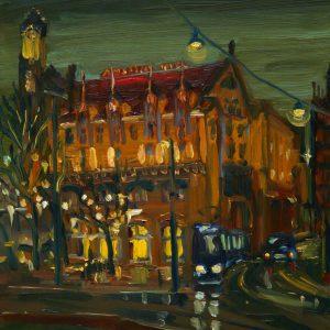 Dark Days # 7 - Americain, 20 x 17 cm, oil on perspex on wood, 2020