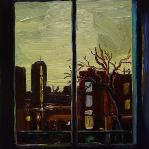 View - Wintersky, 20 x 17 cm, oil on perspex on wood, 2021