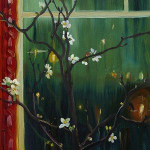 Starry Window, 20 x 17 cm, oil on perspex on wood, 2021