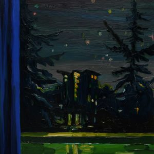 Night View - Park, 20 x 17 cm, oil on perspex on wood, 2021