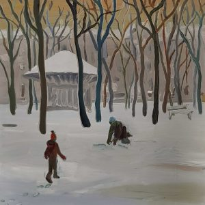 Park - Snowmen, 20 x 17 cm, oil on perspex on wood, 2021