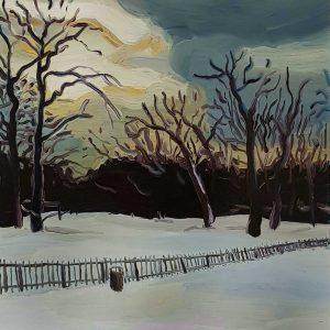 Park - Fence, 20 x 17 cm, oil on perspex on wood, 2021