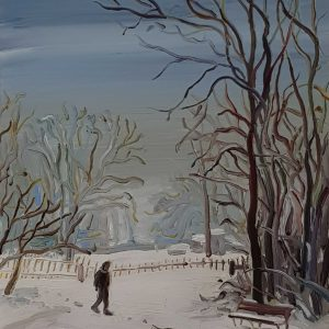 Park - Snow, 20 x 17 cm, oil on perspex on wood, 2021