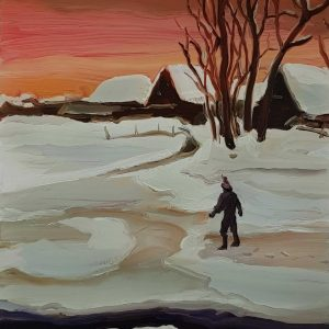 Lowland - Snow, 20 x 17 cm, oil on perspex on wood, 2021