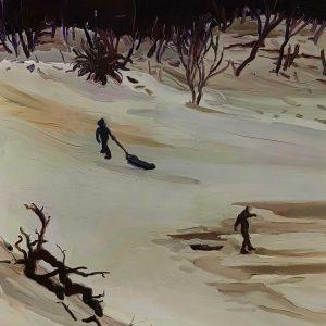 Dunes - Snowmen, 20 x 17 cm, oil on perspex on wood, 2021