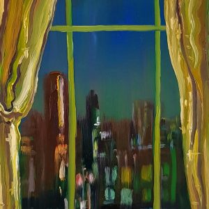 View - Curtains, 20 x 17 cm, oil on perspex on wood, 2021