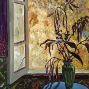 Green Vase - Broken Glass # 2, 20 x 17 cm, oil on perspex on wood, 2021