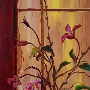 Window - Springflowers, 20 x 17 cm, oil on perspex on wood, 2021