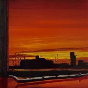 View - Sunrise, 20 x 17 cm, oil on perspex on wood, 2021