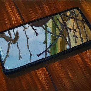 Mirror, 17 x 20 cm, oil on perspex on wood, 2021