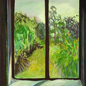 View - Garden, gouache, pastel, chalk on paper, 60 x 48 cm, 2021