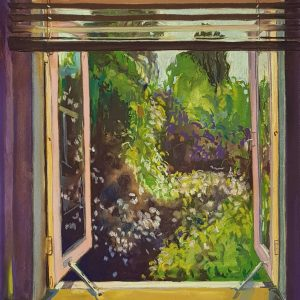 View - Rosegarden, acrylic, pastel, chalk on paper,60 x 48 cm, 2021