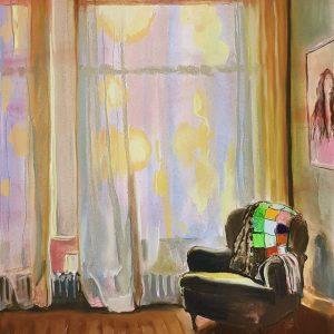 Interior - Window, acrylic, pastel, chalk on paper, 60 x 48 cm, 2021