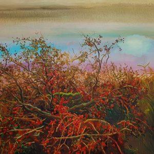 Hawthorn - Berries, 130 x 180 cm, oil on canvas 2021