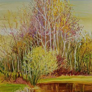 Spring - Birches, 140 x 100 cm, oil on canvas 2021