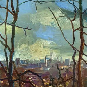View - Haarlem, 20 x 17 cm, oil on perspex on wood, 2021