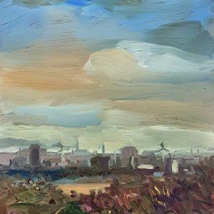 View - Haarlem # 2, 20 x 17 cm, oil on perspex on wood, 2021