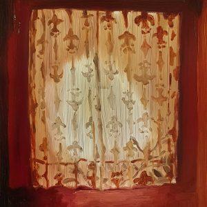 Curtain, 20 x 17 cm, oil on perspex on wood, 2021