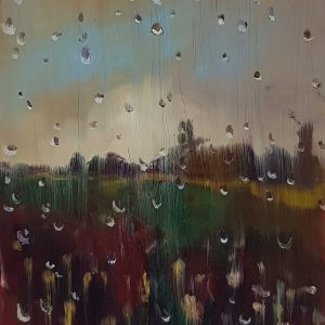 View - Rainy Day # 7, 20 x 17 cm, oil on perspex on wood, 2021