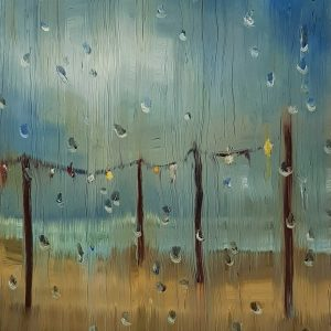 View - Rainy Day Beach, 20 x 17 cm, oil on perspex on wood, 2021