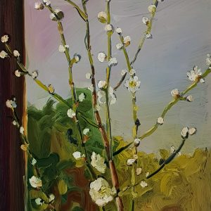 Window - Blossom, 20 x 17 cm, oil on perspex on wood, 2021