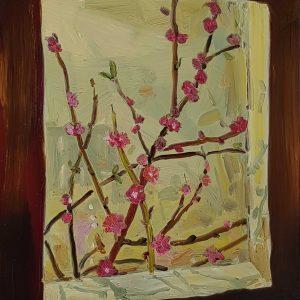Window - Blossom # 2, 20 x 17 cm, oil on perspex on wood, 2021
