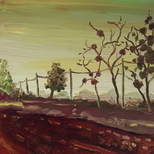 Road, 20 x 17 cm, oil on perspex on wood, 2021
