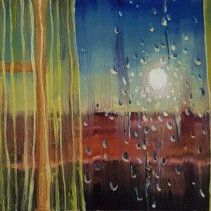 View - Sun, rain, 17 x 20 cm, oil on perspex on wood, 2021
