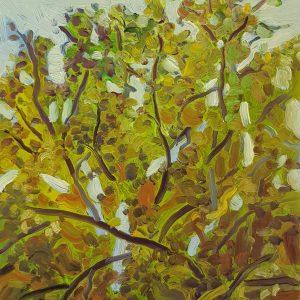 Spring Tree, 20 x 17 cm, oil on perspex on wood, 2021