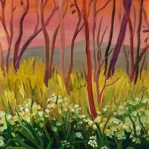 Dunes - Springflowers, 20 x 17 cm, oil on perspex on wood, 2021