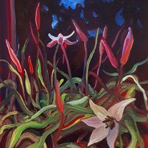 Springflowers - Tulip, 20 x 17 cm, oil on perspex on wood, 2021