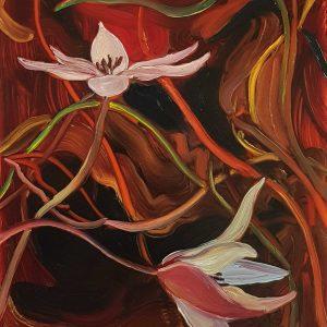 Springflowers - Tulip # 2, 20 x 17 cm, oil on perspex on wood, 2021