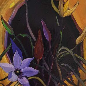 Springflowers - Tulip # 3, 20 x 17 cm, oil on perspex on wood, 2021