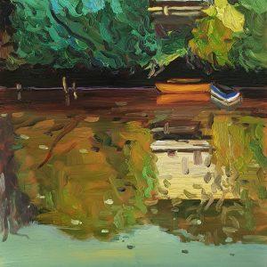 Green Mirror # 2, 20 x 17 cm, oil on perspex on wood, 2021